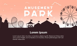 Silhouette amusement park scenery  flat. Amusement park  illustration for infographic map design. Architecture entertainment elements for family rest in the Stock Image