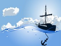 Silhouette of anchored pirate ship Stock Photos