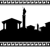 Silhouette of ancient city Stock Photos