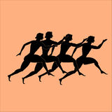 Silhouette of ancient Greek stock illustration