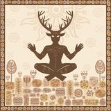 Silhouette of ancient pagan horned god Cernunnos, male deer, spirit of the wood. A background - decorative hieroglyphs, the earth, the sky, flora and fauna Royalty Free Stock Image