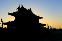 Silhouette of ancient pavilion on the xian city wall Royalty Free Stock Photos
