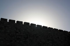 Silhouette of an ancient wall. Royalty Free Stock Images