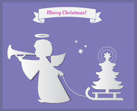 Silhouette of an angel.  with Christmas tree. Paper art Stock Photos