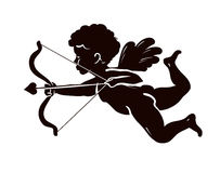 Silhouette angel, cupid or cherub with bow and arrow. Vector illustration Royalty Free Stock Photos