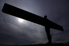 Silhouette of Angel of the North Royalty Free Stock Photo