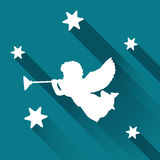 Silhouette of angel with trumpet and stars, background Stock Image