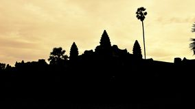Silhouette of Angkor Wat Temple in Cambodia Stock Photo