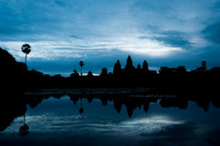 silhouette of Angkor Wat temple, Cambodia Stock Photography