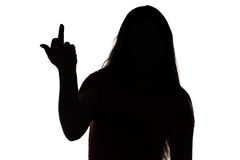 Silhouette of angry teenage girl Royalty Free Stock Images