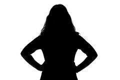 Silhouette of angry woman Stock Photos