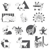 Silhouette animal icons Stock Photos