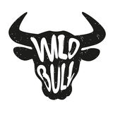 Silhouette of the animal`s head with lettering text Wild Bull. Vector Royalty Free Stock Photos