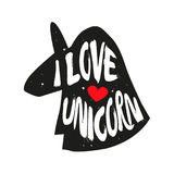 Silhouette of an animal`s head with red heart and lettering text Love Unicorn. Vector sticker Royalty Free Stock Photography