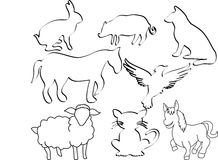 Silhouette animals. Silhouette illustration of farm animals Royalty Free Stock Images