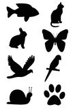 Silhouette of animals. The picture Silhouette of animals on white background Royalty Free Stock Photos