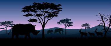 Silhouette animals on savannas in night. Illustration of silhouette animals on savannas in night royalty free illustration