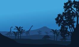 Silhouette of ankylosaurus and brachiosaurus Stock Photography