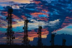 Silhouette of the Antenna of cellular cell phone and communicati Royalty Free Stock Photos