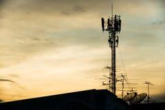 Silhouette antenna Stock Photos