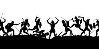 Silhouette antique de scène de bataille Photos stock