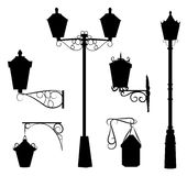 Silhouette of antique outdoor lamps Stock Photo