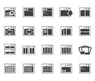 Silhouette Application, Programming, Server and computer icons Stock Image