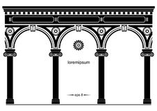 Silhouette of arched classical facade Stock Images