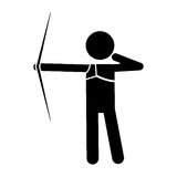Silhouette archery player aiming bow game. Vector illustration eps 10 Royalty Free Stock Photos