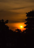 Silhouette of architecture chinese style Stock Photos