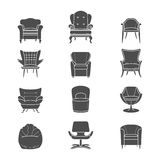 Silhouette armchair vector isolated icons set Stock Images