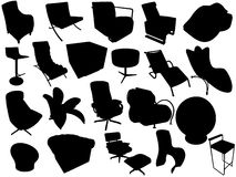 Silhouette of armchairs Stock Photos