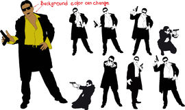 Silhouette of armed man. Silhouette of man with gun and and suit. Shirt color and body can be easily changed Stock Images