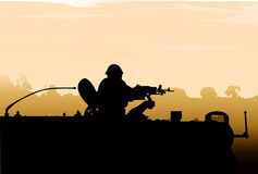 Silhouette Army Soldier Sunset Royalty Free Stock Image