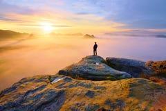 Silhouette arrière pointue d'homme sur la crête rocheuse Satisfaites le randonneur apprécient la vue Homme grand sur la falaise r photos libres de droits