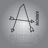 Silhouette Arrow Alphabet and Numbers Vector Stock Photography