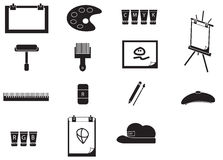 Silhouette artist painting tools icon set (vector) Royalty Free Stock Images