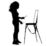 Silhouette, artist at work on a white background,. Vector illustration Stock Images