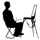 Silhouette, artist at work on a white background,. Vector illustration Stock Photo