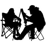 Silhouette, artist at work on a white background. Vector illustration Royalty Free Stock Photo