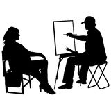 Silhouette, artist at work on a white background. Vector illustration Stock Image