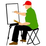 Silhouette, artist at work on a white background. Vector illustration Stock Photo