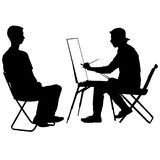 Silhouette, artist at work on a white background. Vector illustration Royalty Free Stock Photos