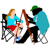 Silhouette, artist at work on a white background,. Vector illustration Royalty Free Stock Image