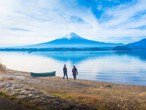 Silhouette asia couple traveler 30s to 40s walking and relax at Royalty Free Stock Image