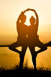 Silhouette Asia woman yoga Royalty Free Stock Photo