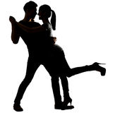 Silhouette of Asian couple dancing Royalty Free Stock Photos