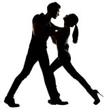 Silhouette of Asian couple dancing Stock Photos
