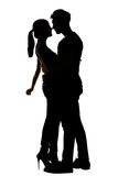 Silhouette of Asian couple hug Stock Photos