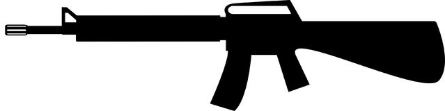 Silhouette of assault rifle. Vector illustration. royalty free stock images